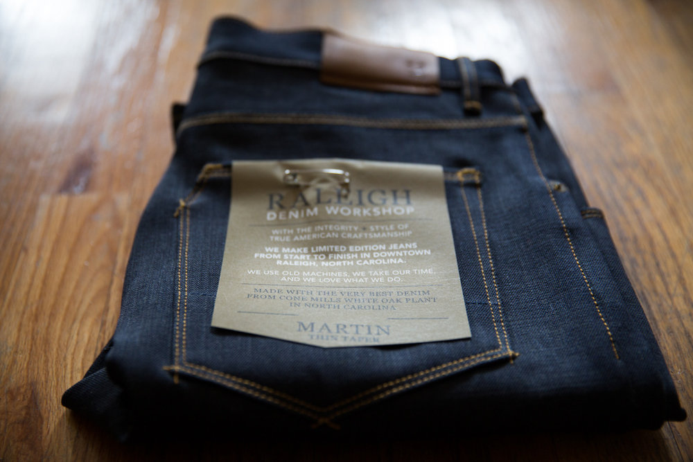 """We use old machines, we take our time, and we love what we do."" Huge thanks and shout out to Raleigh Workshop, for taking such great care of me. Not only do they make the best jeans (I've been searching for years), but they have some of the best customer service I have ever experienced and will take great care of you. All of their jeans are handmade in small batches, with the highest level of craftsmanship and extraordinary attention to detail. Each pair is signed and numbered, made from the finest selvedge denim from Cone Mills' White Oak plant. Every pair of jeans tell a story, and I can't wait to break this raw selvedge pair in this summer in the Arctic!"