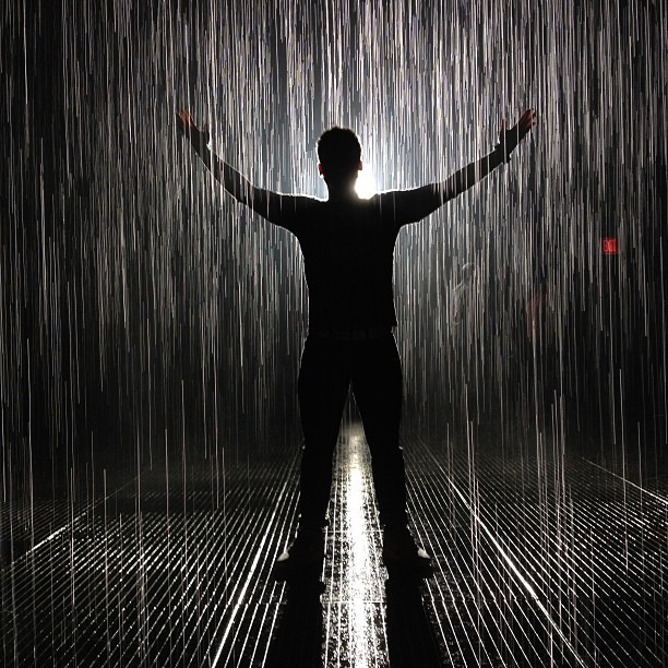 MoMA Rain Room, one of the coolest things I've ever experienced. Photo by @micahcordy #nofilter (at MoMA Rain Room)