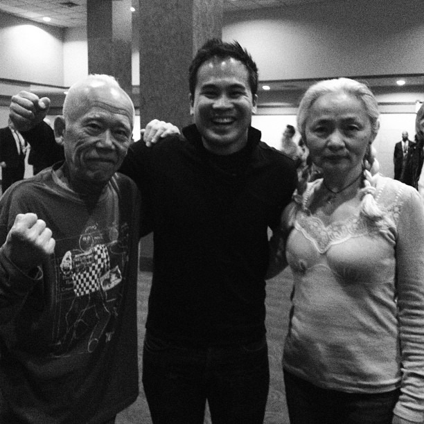 Ushio & Noriko Shinohara, the stars of #cutieandtheboxer and the cutest powerhouse couple ever. Ushio-San told me I was strong. He's also over 80 years old and still rocking a mohawk. Go and see the film, you will not be disappointed! @tribeca #tff2013 #tribecafilmfestival (at Tribeca Film Festival)