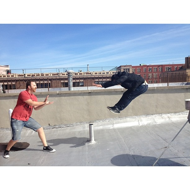 I got hadoukened by @evanburgher on my rooftop #nofilter #hadouken #streetfighter (at New York)