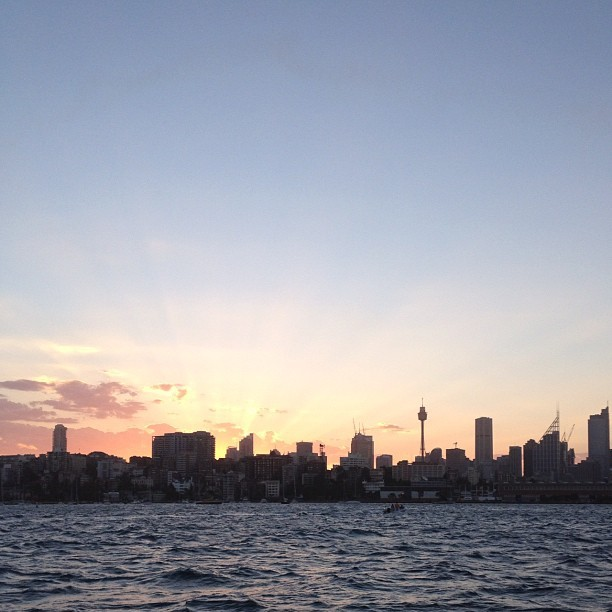 The last sunset of 2012 from a sailboat (at Sydney)