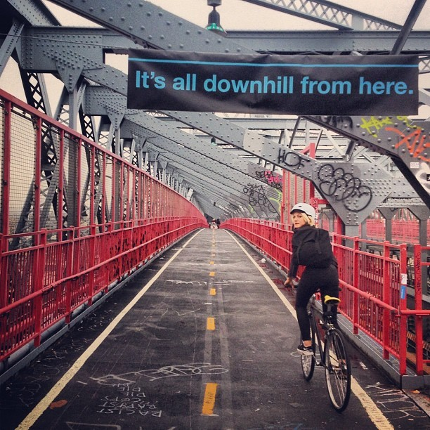It's all downhill from here. (Taken with  Instagram  at Williamsburg Bridge)