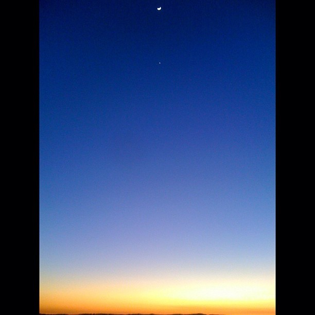 The Moon and the Sunset at my old stomping grounds. This was one of the first photos I took with my iPhone 3G nearly 4 years ago. (Taken with  Instagram  at Oakley Headquarters)