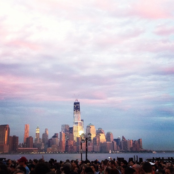 One World Trade Center at sunset prior to Mumford and Sons (Taken with Instagram)