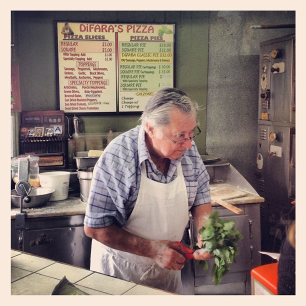 Domenico DeMarco, 75, has been making every single pizza at Di Fara Pizza for nearly 50 years. It is widely considered the best pizza in NY. (Taken with Instagram at Di Fara Pizza)