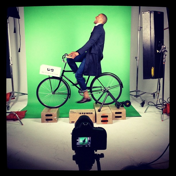 Shooting green screen cycling with Leroy + Clarkson at Industria Superstudio for Mr. Porter and USA Network's Suits