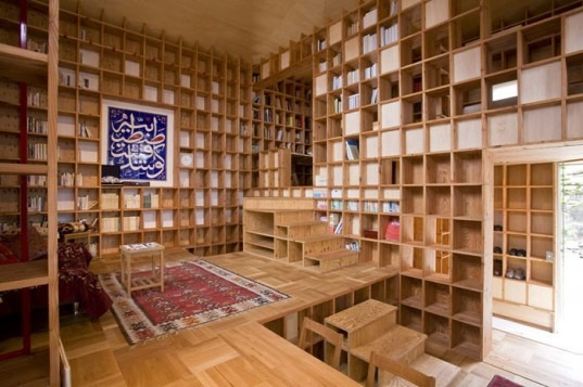What do you do when you have a large book   collection? And we mean a ridiculously large collection. Well, you could live in an entire house lined with bookshelves like this one! Designed by Japan's  Kazuya Morita Architecture Studio  in Moriguchi City, the entire interior of the home, which has been dubbed Shelf-Pod, is lined with an extensive latticework of laminated pine board. The designers even created a mosque-like domed roof for the house since the homeowner's book collection consists primarily of Islamic history texts.