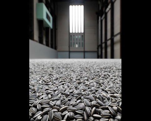 Sunflower Seeds  is made up of millions of small works, each apparently identical, but actually unique. However realistic they may seem, these life-sized sunflower seed husks are in fact intricately hand-crafted in porcelain.    Each seed has been individually sculpted and painted by specialists working in small-scale workshops in the Chinese city of Jingdezhen. Far from being industrially produced, they are the effort of hundreds of skilled hands. Poured into the interior of the Turbine Hall's vast industrial space, the 100 million seeds form a seemingly infinite landscape.    Porcelain is almost synonymous with China and, to make this work, Ai Weiwei has manipulated traditional methods of crafting what has historically been one of China's most prized exports.  Sunflower Seeds  invites us to look more closely at the 'Made in China' phenomenon and the geo-politics of cultural and economic exchange today.