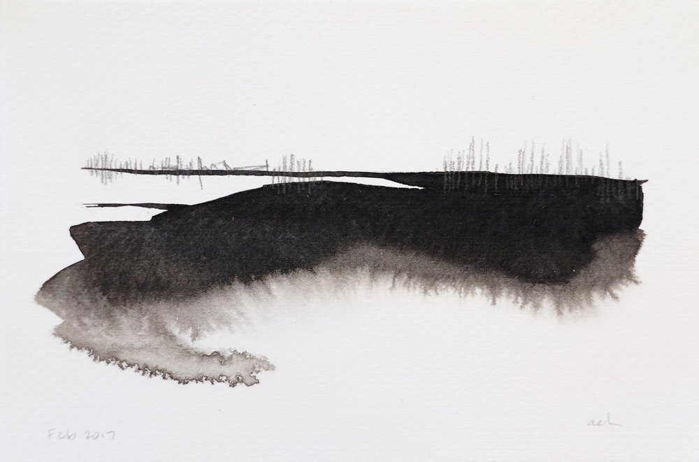 Distance View  Ink, graphite on paper  Original SOLD; Limited edition of 10 - prints available.