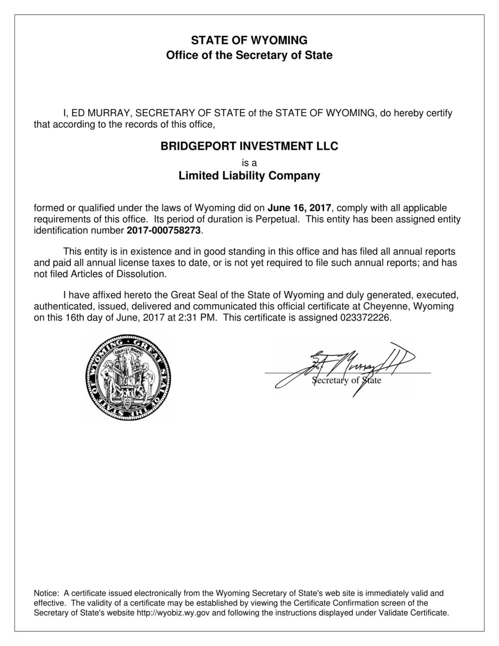 Documents bridgeport investment llc the document will verify that the organization is compliant within the state of incorporation 1betcityfo Gallery