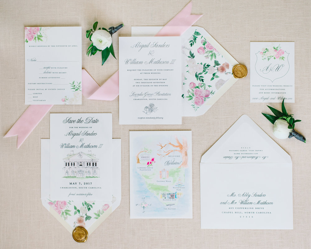 The entire suite including the wedding map