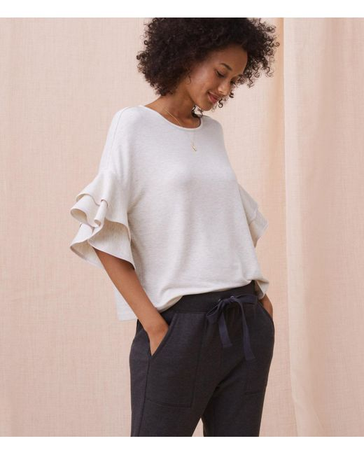 This blouse I have actually worn to work, with jeans and booties and it was SUPER COMFY and felt and looked so much more expensive than the price I bought it for. If you're searching for it, look up the Lou & Grey Signaturesoft Tipped Ruffle Top!