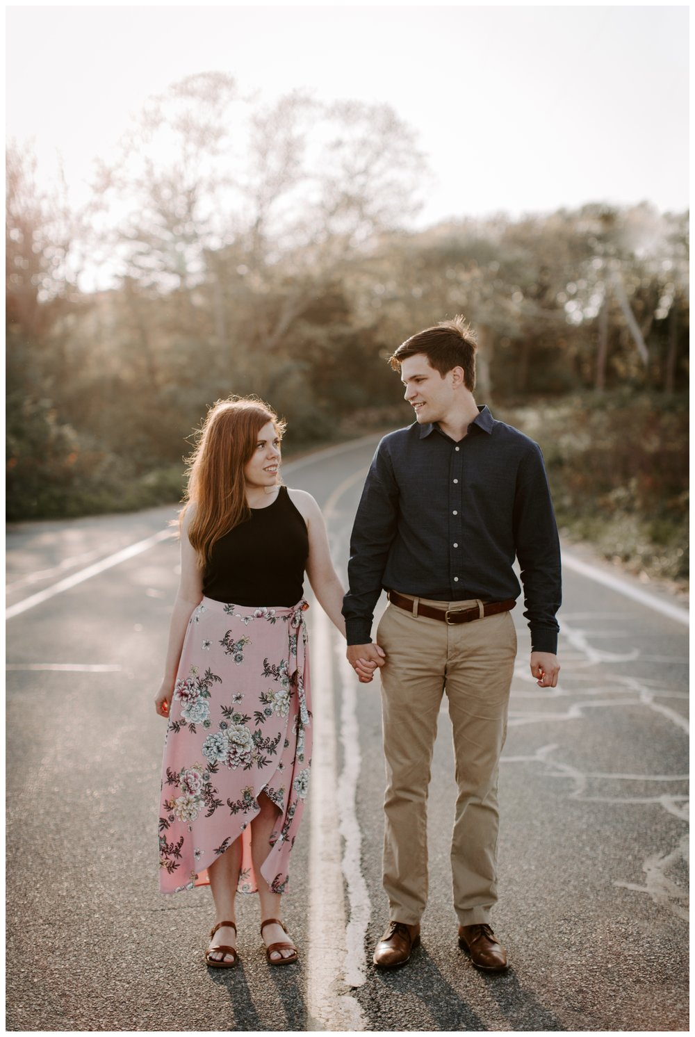 couple walks in the street
