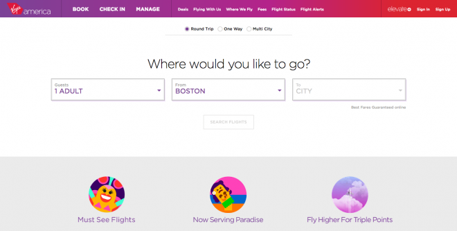 user experience design is great on the Virgin America website