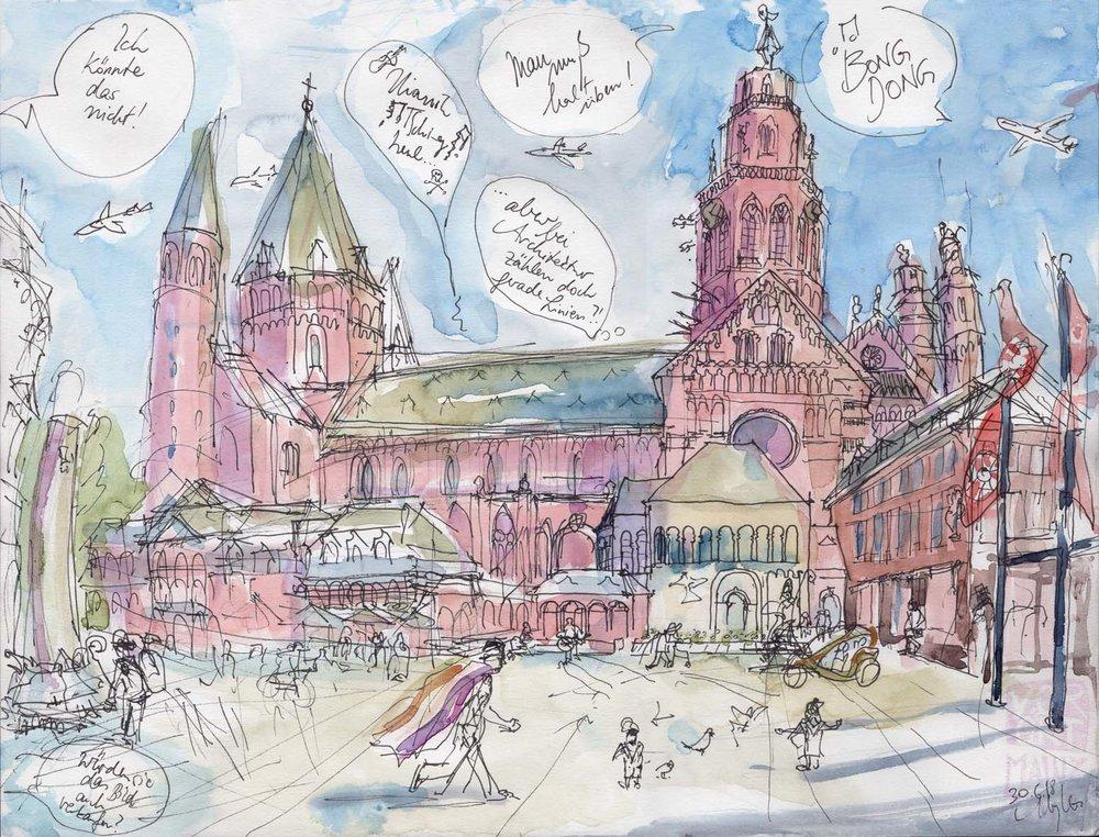 Domplatz Mainz, CSD, 2018 (auch als Postkarte erhältlich)