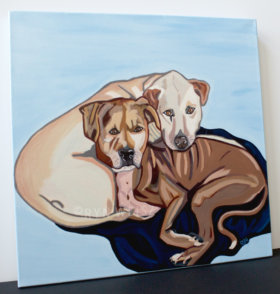 """Charlie & Gypsy""- 20x20 in. - Acrylic on gallery-wrapped Canvas"