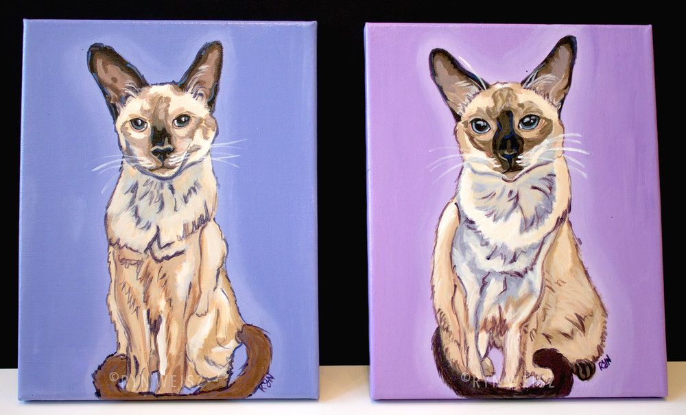 Jazz & Bella 11x14 in.  each, Acrylic on canvas.
