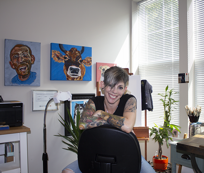 Ryn Weisz; in studio.  I love my dogs so much that they're all tattooed on my arms (my son too) so that they're always with me...amongst all types of other animals.