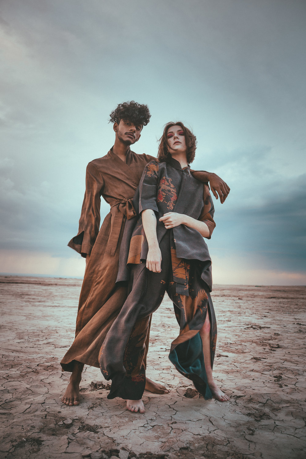 Editorial - - hourly rate for shooting + flat fee per image fileOR- flat fee with edits included (primarily test shoots)This photo is of Sarathi Garimella and Sophia Crane, shot for Ziran, a sustainable silk clothing brand based out of Los Angeles. See their beautiful pieces here.