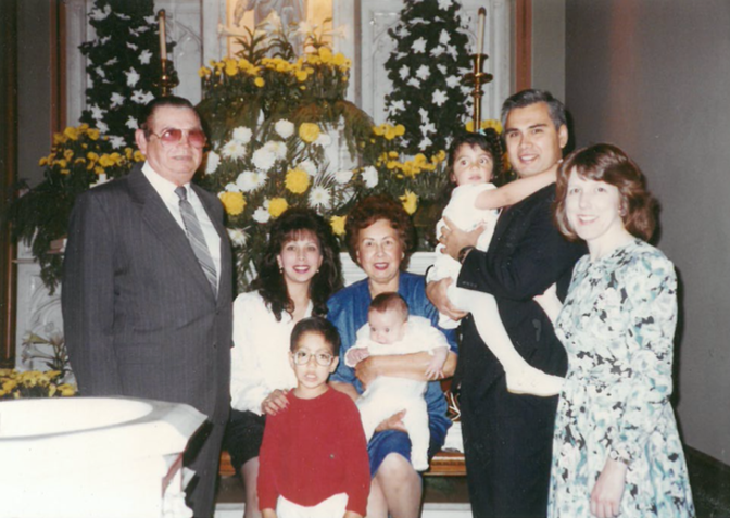 With my parents and grandparents in 1991. My Salvadoran American grandfather Miguel Hernandez and Mexican American grandmother Eloisa Perez immigrated to San Francisco in the 1950s.