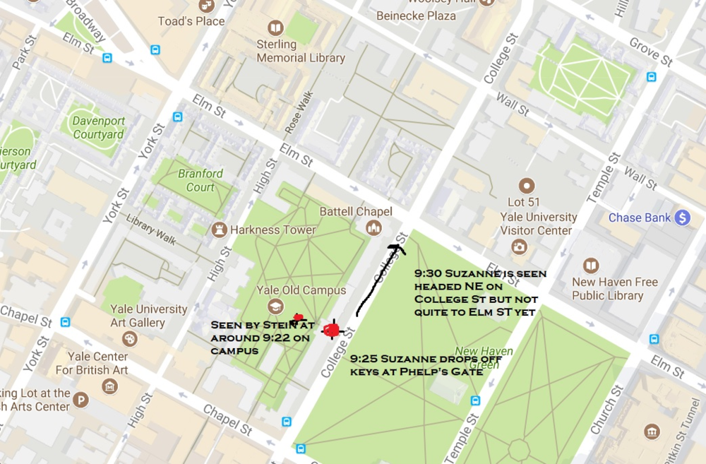 This image is of the direction Suzanne Jovin was headed when she left Yale Campus after dropping off the keys to the Yale University Car