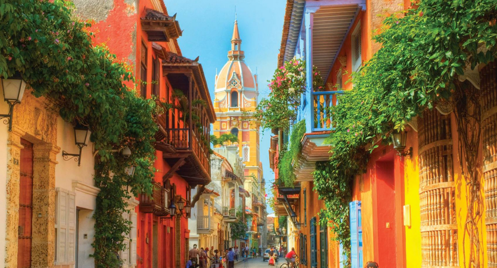 The streets of Cartagena's Old City, a few minutes walk from our retreat house