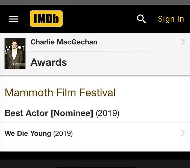 Huge Congratulations to TCG's  @macgechancharlie for his #BestActor nomination at the 2019 @mammothfilmfestival . Charlie plays 'Jester' in #wedieyoung alongside #jeanclaudevandamme