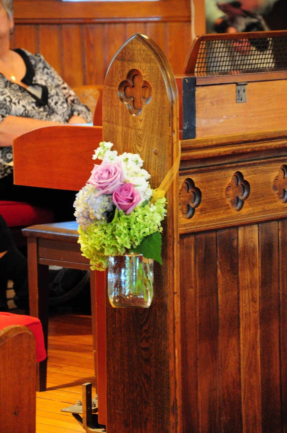 Wedding Bouquet on Pew