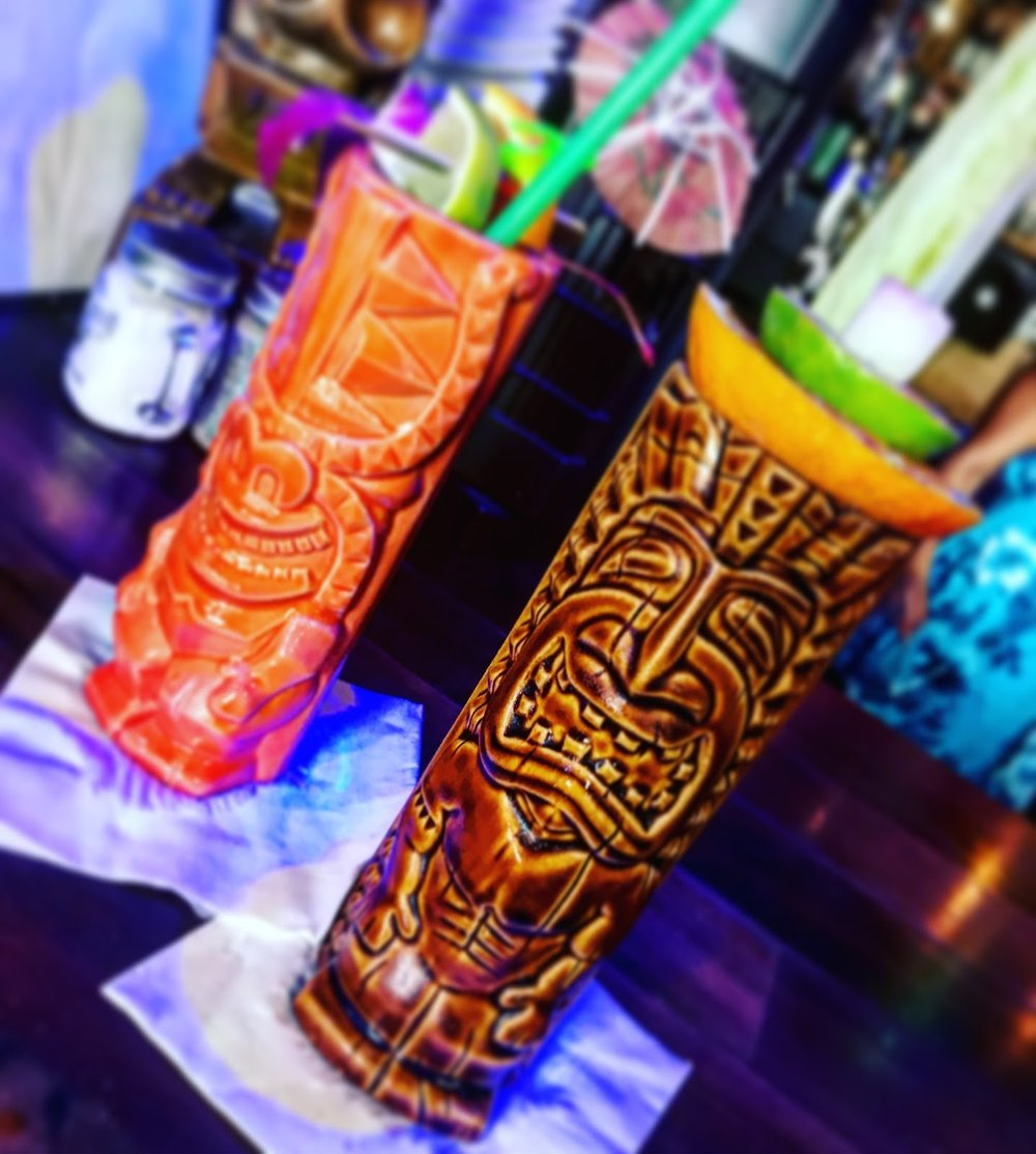 Mai Tai and Flaming Zombie - Tiki Iniki, Kauai, Hawaii