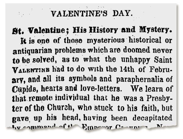 The New York Times pondered the history of Valentine's Day in 1853