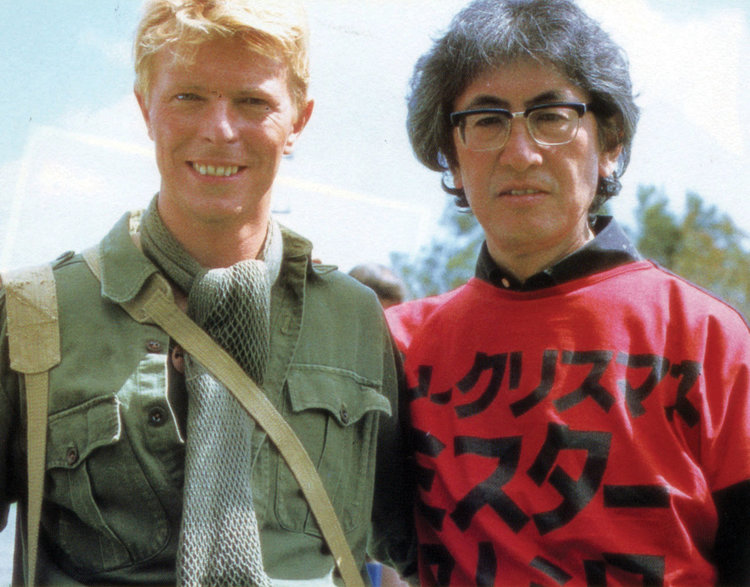David Bowie and Nagisa Oshima on the set of  Merry Christmas Mr. Lawrence  (1983)