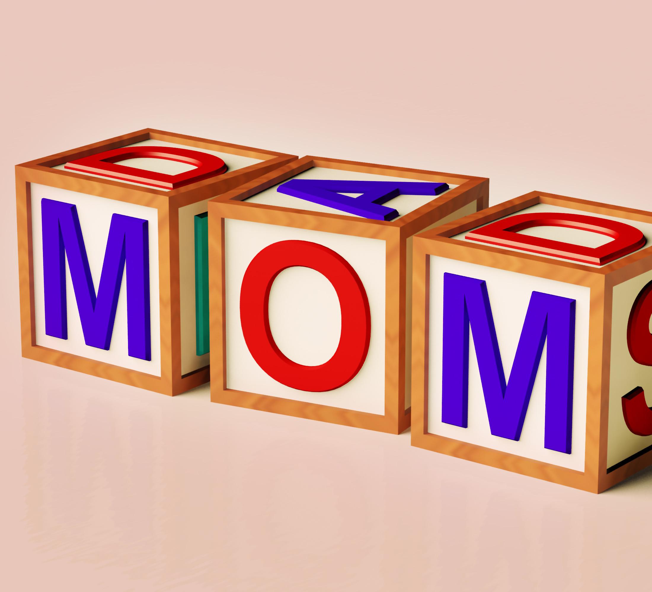 Kids Blocks Spelling Mom As Symbol for Motherhood And Parenting