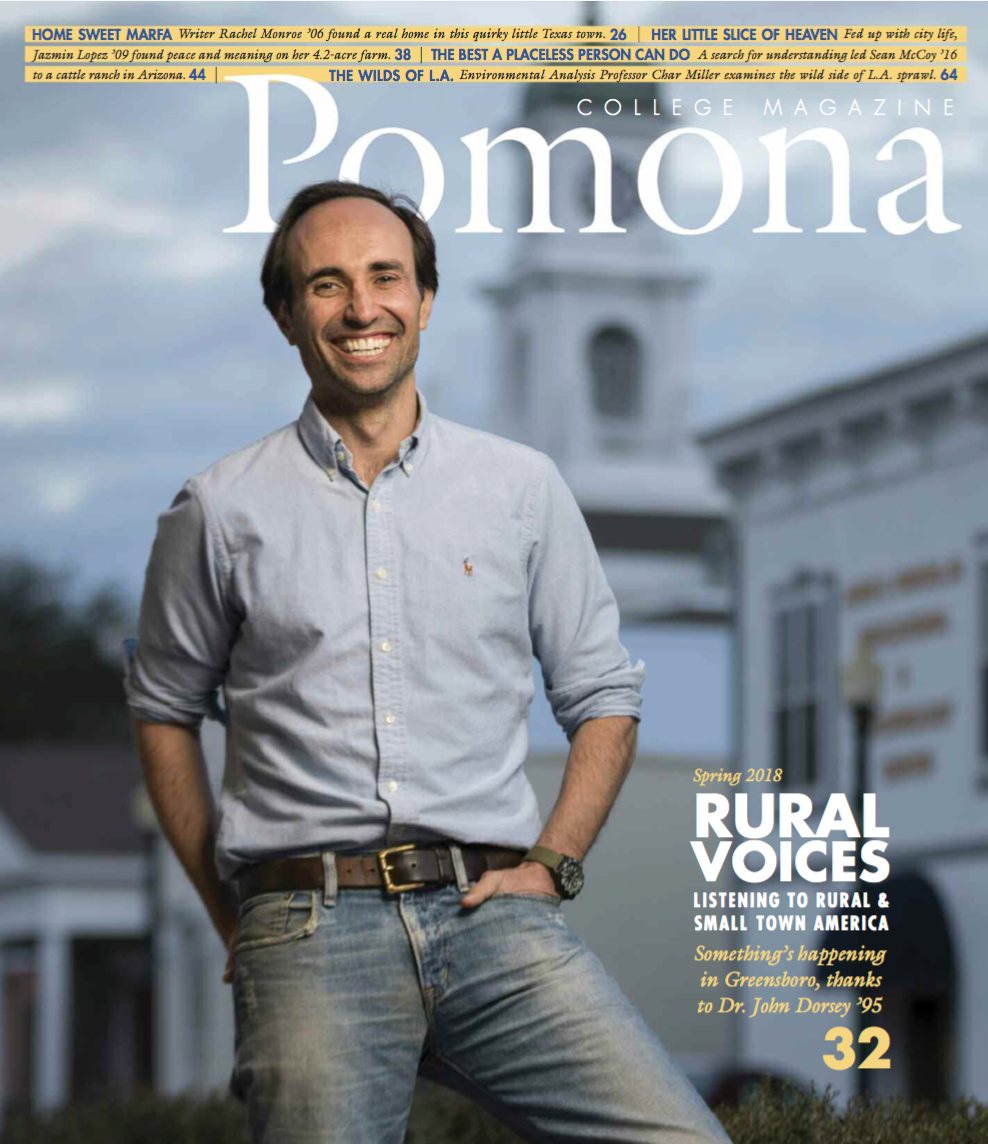 Project Horseshoe Farm feature on the front of Pomona College's Spring 2018 magazine