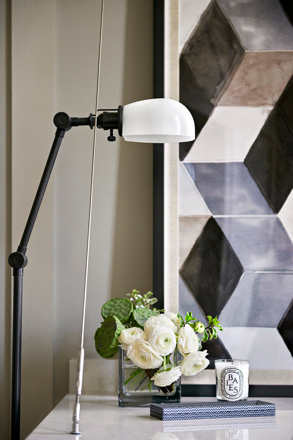 Black desk lamp, white stone table and large fine art piece - Rustic Contemporary Bureau Interior Design Nashville TN