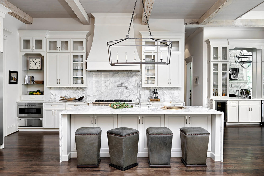 Beautiful White Kitchen With Gray Marble Back Splash, Elegant Upolstered Gray Seating    Rustic Contemporary Bureau