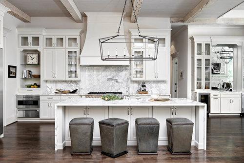 White Kitchen With Gray Marble Back Splash Elegant Upolstered Seating