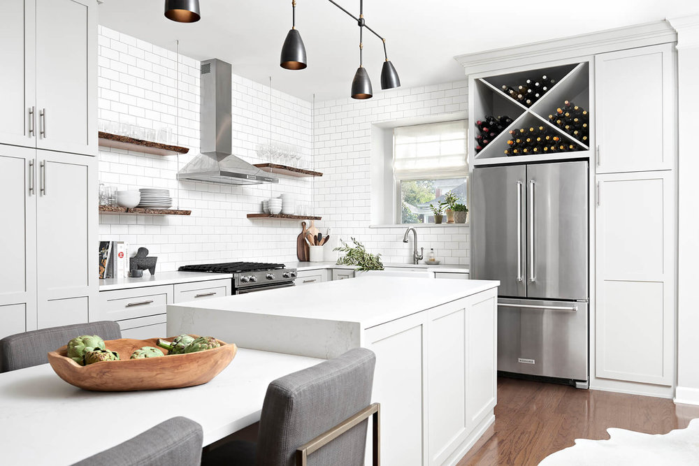 Merveilleux White Brick Kitchen With Gray Cabinets, Stainless Steel Appliances, White  Counters Wood Accessories