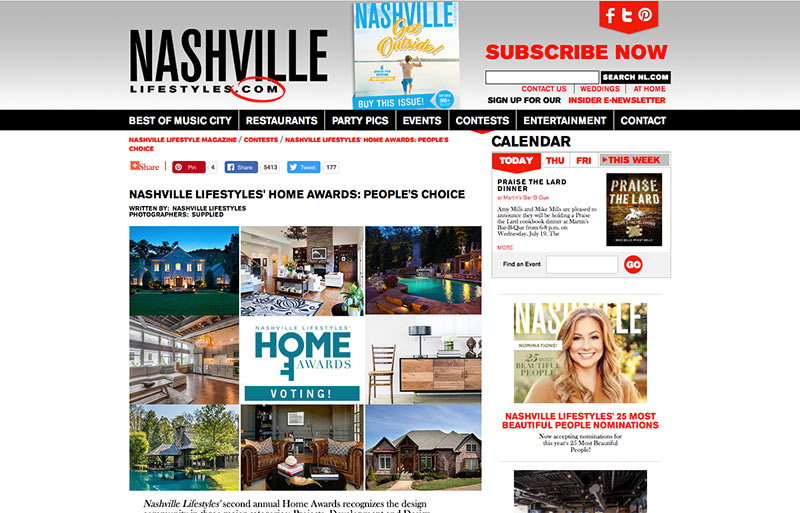 Nominated as Best Up-and-Coming Designer, Best Kitchen Remodel, Best Kitchen, Best Bathroom Nashville Lifestyles' second annual Home Awards recognizes the design community in three major categories: Projects, Development and Design. Read More →