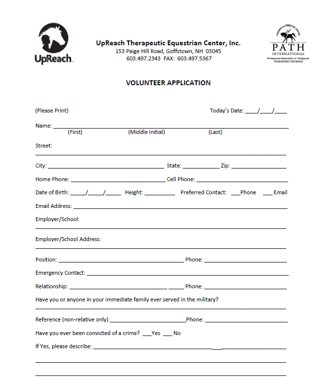 New volunteer paperwork package   Please download and print the volunteer application and bring completed with you to a  training  .  Thank you!