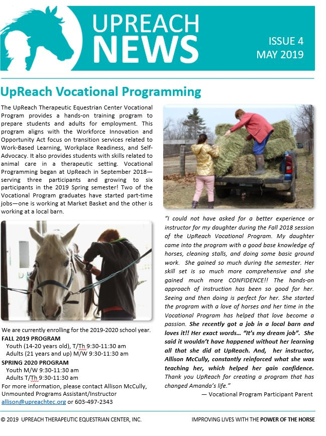 New and Noteworthy — UpReach Therapeutic Equestrian Center, Inc.