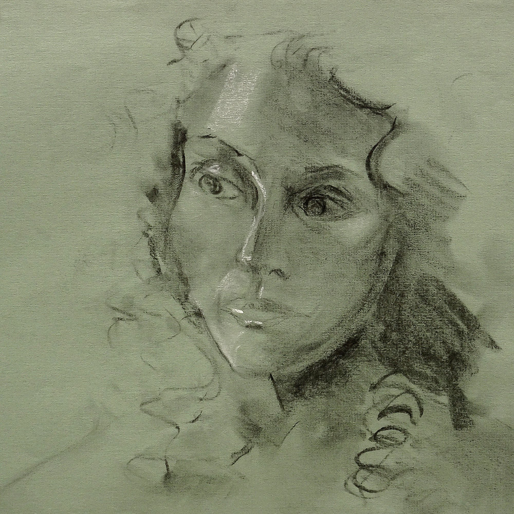 """WOMAN WITH CURLS"",  Charcoal on Paper"",  18x19"",  NFS"