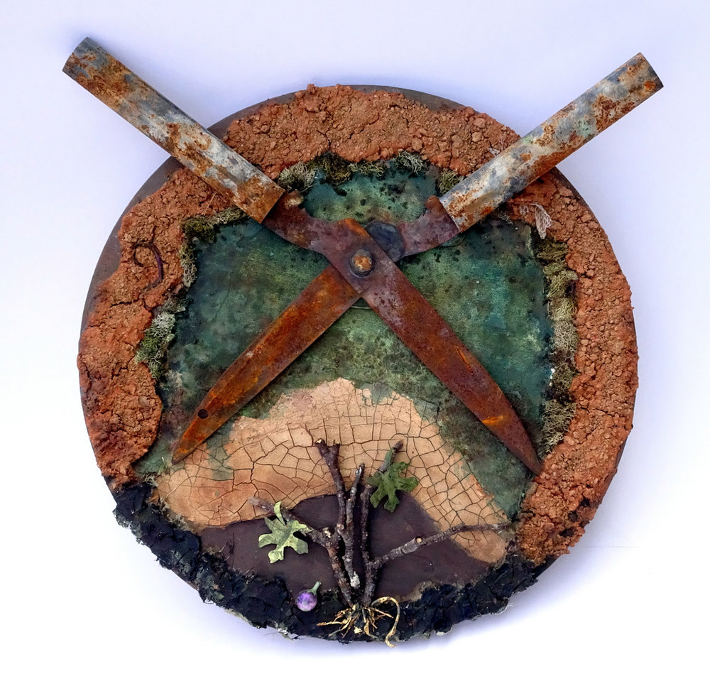 """""""LET THE FIG TREE LIVE"""",  Mixed Media Collage on Canvas,  16"""" round,  $325"""