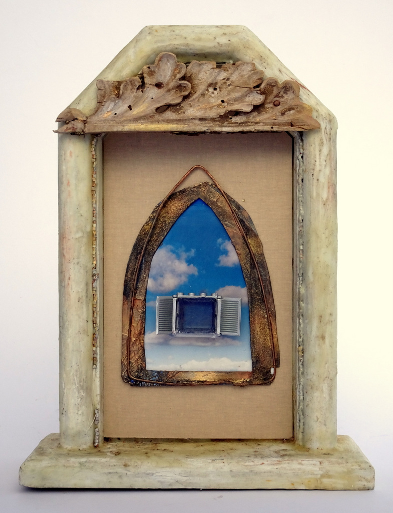 """BLUE SKY ALTAR"",  Mixed Media Sculpture,  9x12"",  $275"