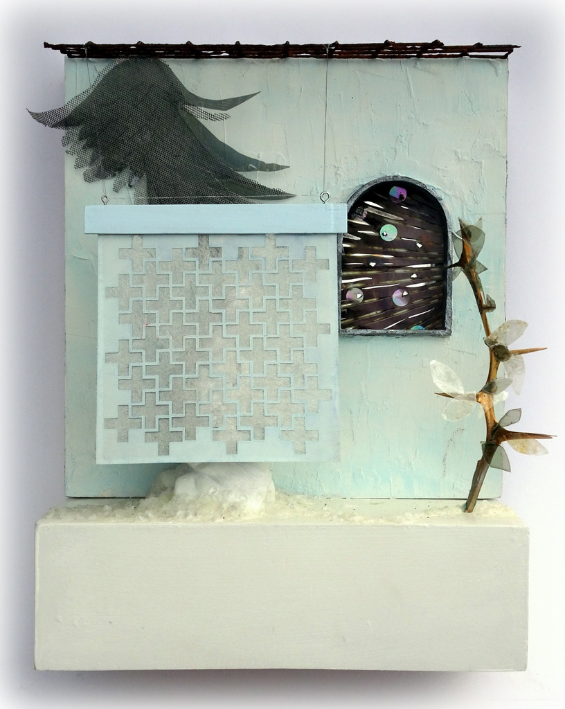 """ANUNCIATION"",  Mixed Media Wall Piece,  12x15x6"",  $425"