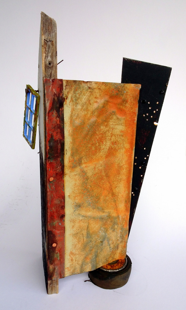 """""""LOST WINDOW"""",  Mixed Media Sculpture,  15x10x8,  Private Collection"""