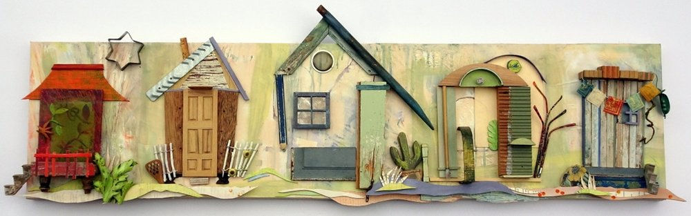 """NEIGHBORHOOD"",  Mixed Media Wall Piece,  14x52"",  Private Collection"