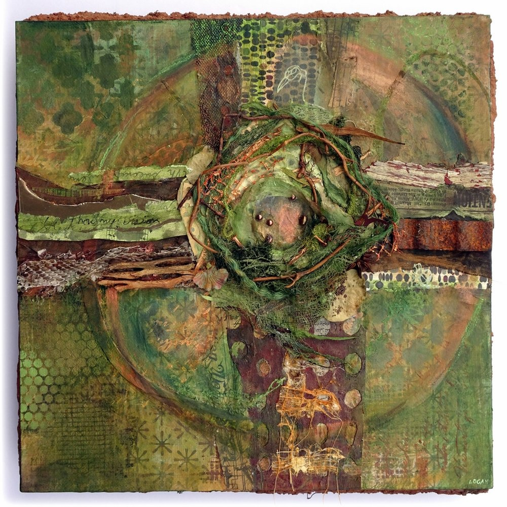 """""""CREATION CRUCIFIX"""", Mixed Media Collage on Metal,  12x12"""",  $425"""