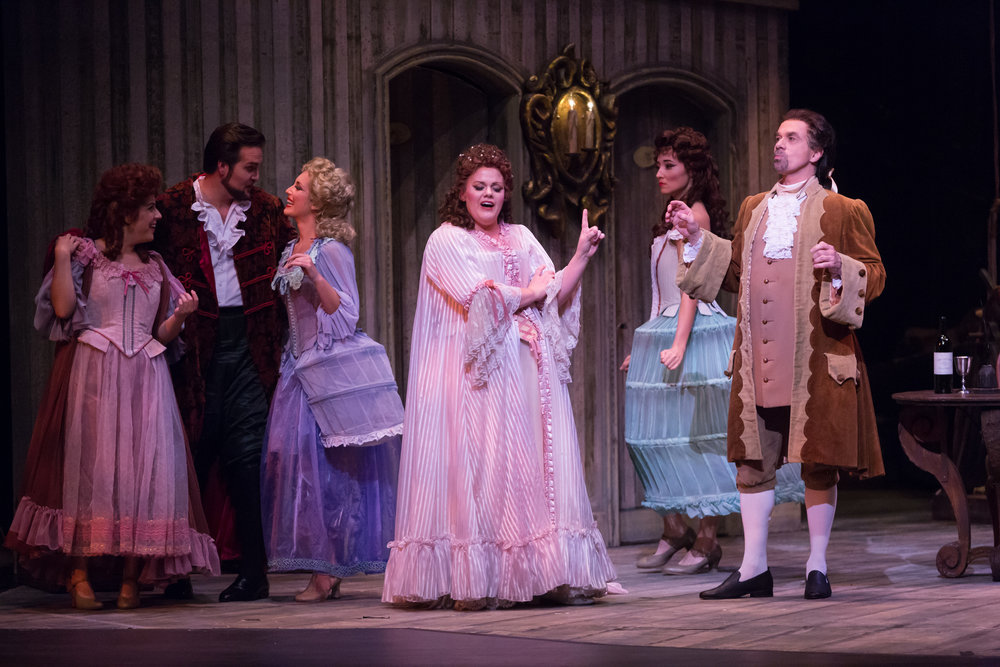 Photo credit: Palm Beach Opera  Echo in  Ariadne auf Naxos   With Jessica Fishenfeld, Fleur Barron, Wendy Bryn Harmer, Brian Jagde, and Mark Schnaible