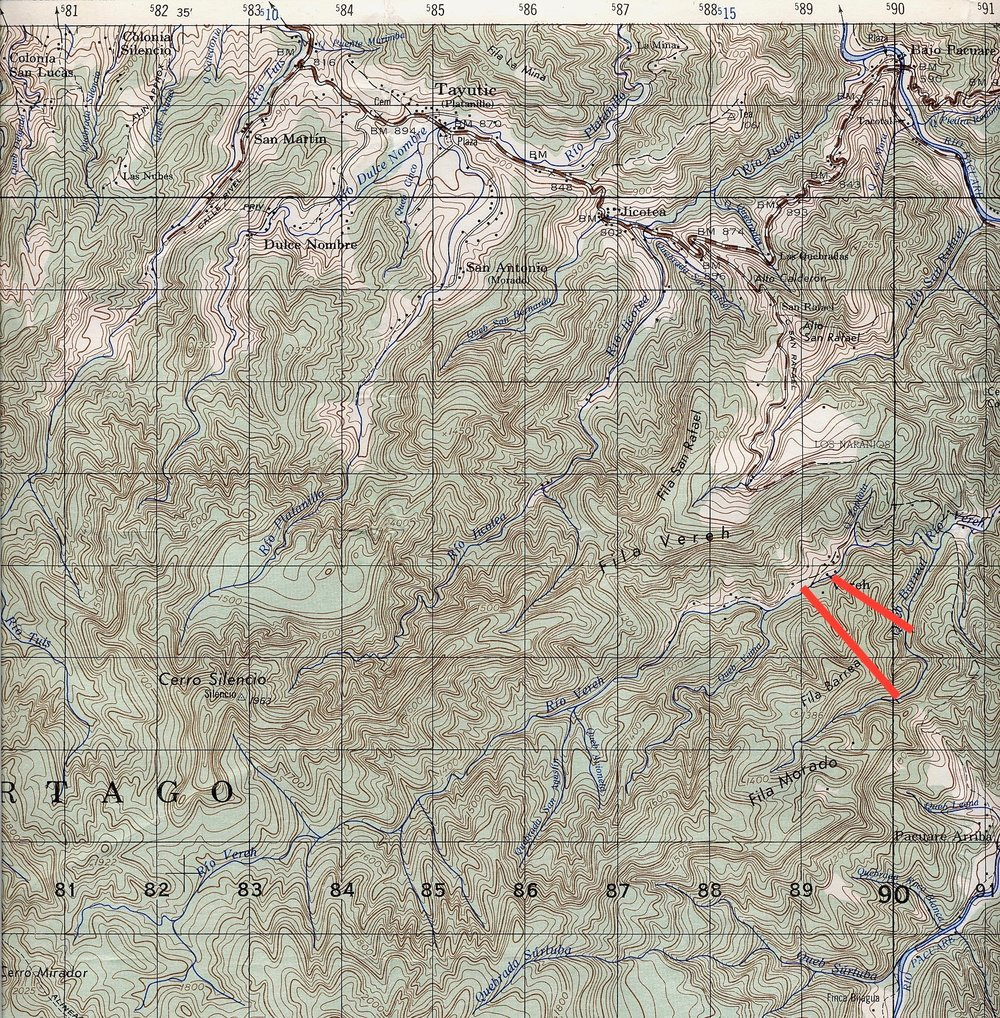 THE SOLID RED LINES SHOW THE  CAMPGROUNDS. IT TAKES 10 HARD HIKING DAYS TO REACH THE BORDER OF PANAMA. THERE ARE NO ROADS OR TOWNS BETWEEN US AND THE BORDER.