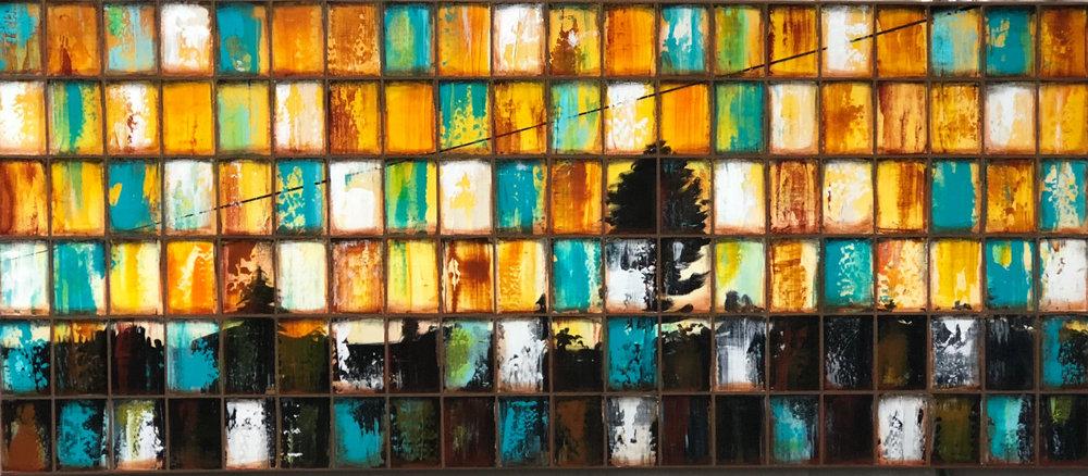 "26""x60""  Acrylic paint/mixed media on canvas"